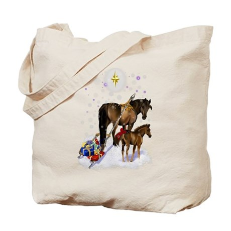 Christmas Mare and Colt Tote Bag