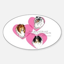 Sheltie Hearts Oval Decal