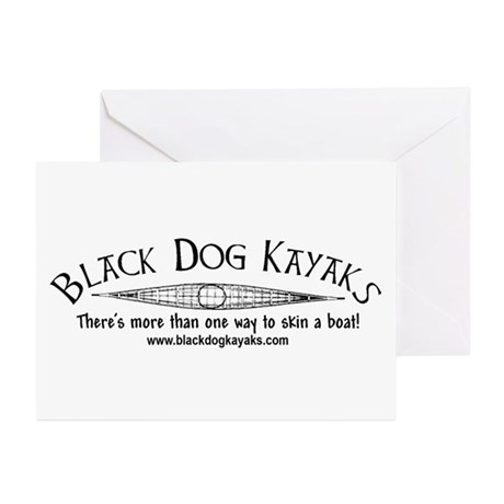 Black Dog Kayak Greeting Cards (Pk of 10)