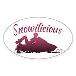 Snowilicious Snowmobile Oval Sticker