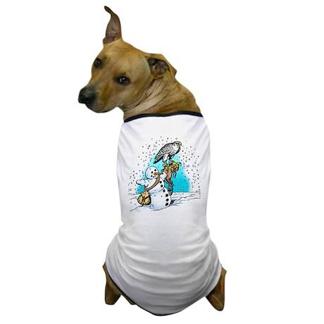 Gyrfalcon & Snowman Dog T-Shirt