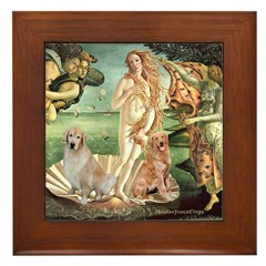 Venus / Two Golden Retrievers Framed Tile