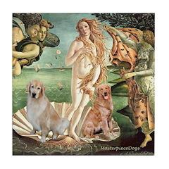Venus / Two Golden Retrievers Tile Coaster