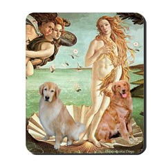 Venus / Two Golden Retrievers Mousepad