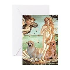 Venus / Two Golden Retrievers Greeting Cards (Pk o