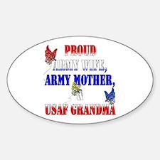 Army Wife Mom USAF Grandma Oval Decal