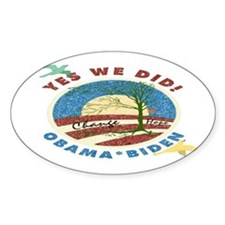 Obama Vintage Yes We Did Oval Decal