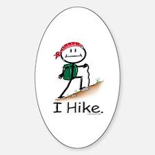 Hiking Stick Figure Sticker (Oval)