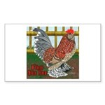 D'Uccle Rooster Rectangle Sticker 10 pk)