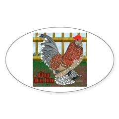 D'Uccle Rooster Oval Sticker (50 pk)