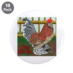 """D'Uccle Rooster 3.5"""" Button (10 pack)"""