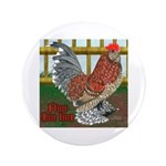 """D'Uccle Rooster 3.5"""" Button"""