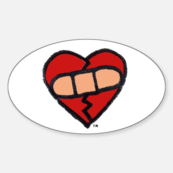 """""""Mended Heart"""" Oval Decal"""