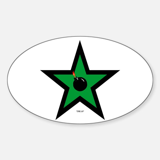 Green Star Oval Decal
