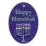 Happy Hanukkah Menorah Keepsake (Oval Ornament)