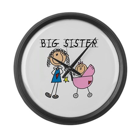 Big Sister With Little Sis Large Wall Clock