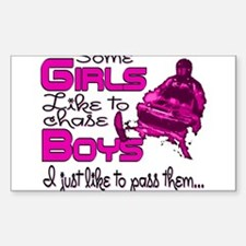Some Girls...Snowmobile Rectangle Decal