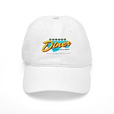 Diner Baseball Baseball Cap in white or khaki