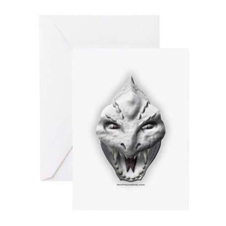 White Dragon Head Greeting Cards (Pk of 10)