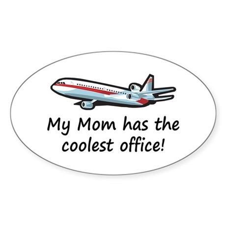 Mom's Cool Airplane Oval Sticker