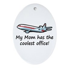 Mom's Cool Airplane Oval Ornament