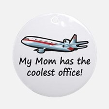 Mom's Cool Airplane Ornament (Round)