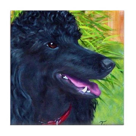 Black Poodle 1 Tile Coaster