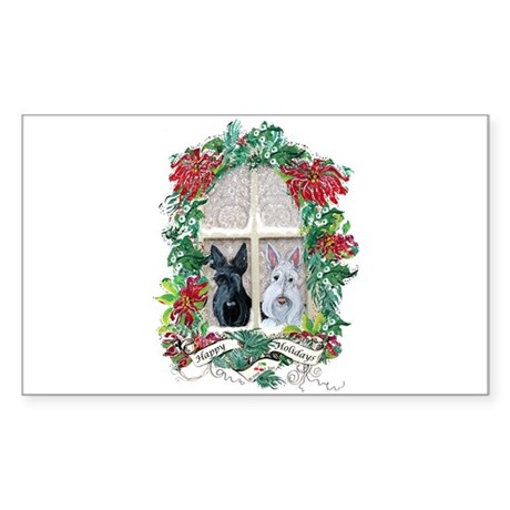 Scottie Terrier Holiday Rectangle Sticker