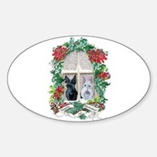 Scottie Terrier Holiday Oval Decal