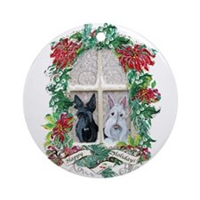 Scottie Terrier Holiday Ornament (Round)