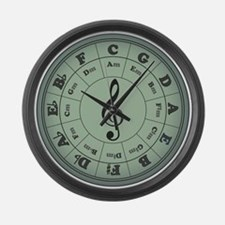 Green Circle of Fifths Large Wall Clock