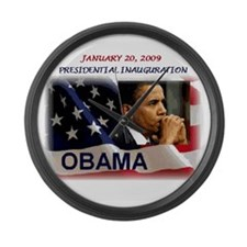 Cute Obama president january 20 election 2008 Large Wall Clock