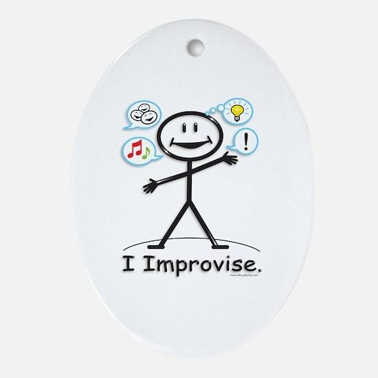 Improve comedy stick figure Oval Ornament