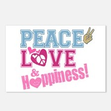 Peace Love and Happiness Postcards (Package of 8)