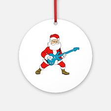 Guitar Santa Ornament (Round)