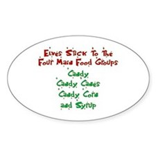 Elves - Food Groups Oval Decal