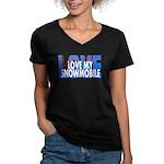 Love Me - Snowmobile Women's V-Neck Dark T-Shirt