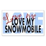 Love Me - Snowmobile Rectangle Sticker