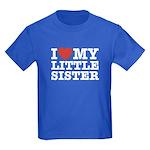 I Love My Little Sister Kids Dark T-Shirt