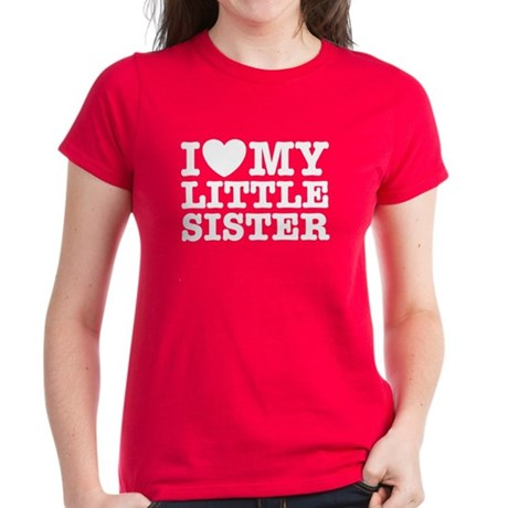 I Love My Little Sister Women's Dark T-Shirt