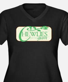 Chewlies Women's Plus Size V-Neck Dark T-Shirt