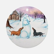 Snow Dachshunds Ornament (Round)