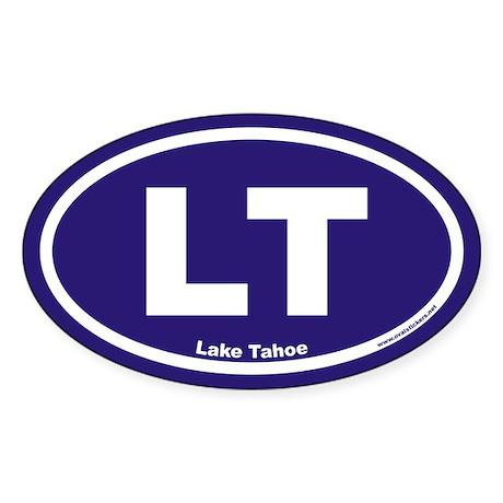 Lake Tahoe LT Euro Oval Sticker w/ Blue Background