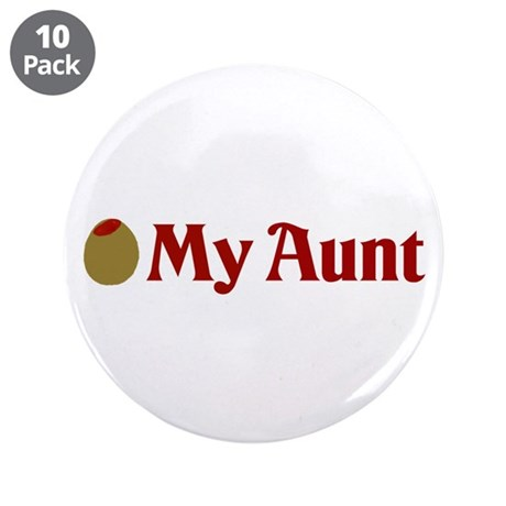 """Olive (I Love) My Aunt 3.5"""" Button (10 pack)"""