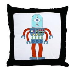 Scary Eyeball Robot Throw Pillow