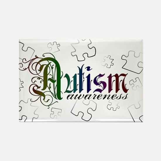 Autism Awareness - Medievel Rectangle Magnet