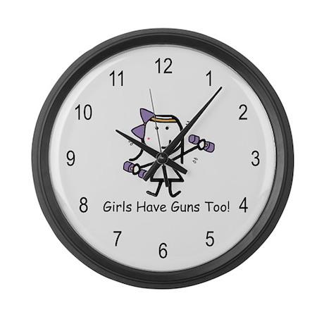 Exercise - Girls Guns Large Wall Clock
