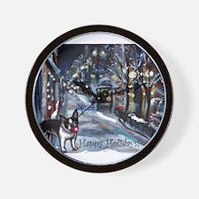 Boston Terrier Xmas Holiday Wall Clock