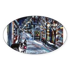 Boston Terrier Xmas Holiday Oval Sticker (10 pk)