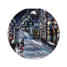 Boston Terrier Xmas Holiday Ornament (Round)